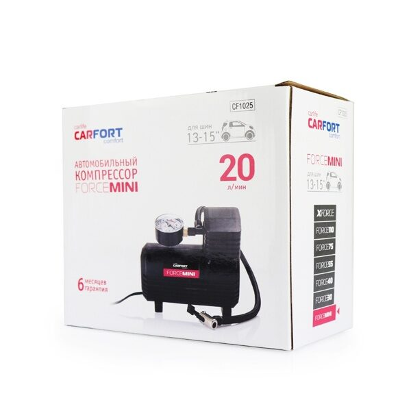 "Компрессор а/м  ""CARFORT"" ForceMINI 12v.  5Amp,  20 л/мин     (1/8)"